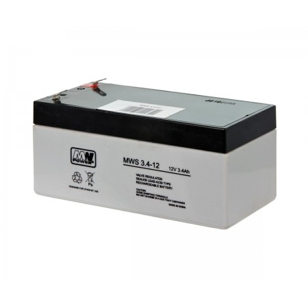 Akumulator AGM 12V 3,4Ah żelowy MWS VRLA